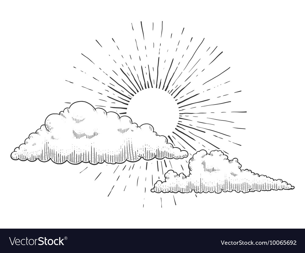 Sun with clouds engraving