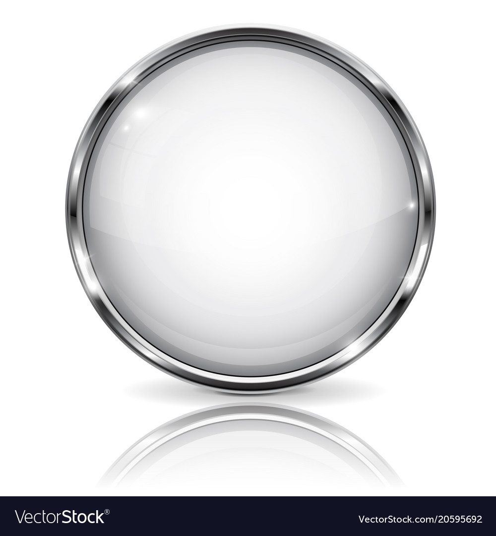 White glass 3d button with metal frame with Vector Image