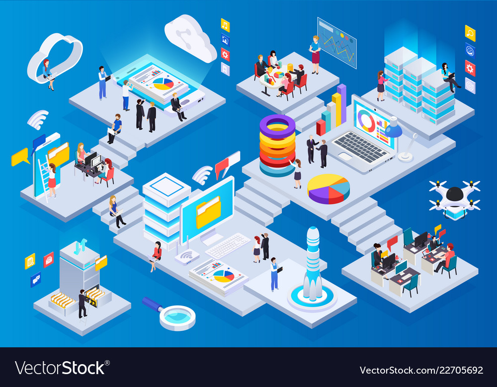Wireless technology isometric composition