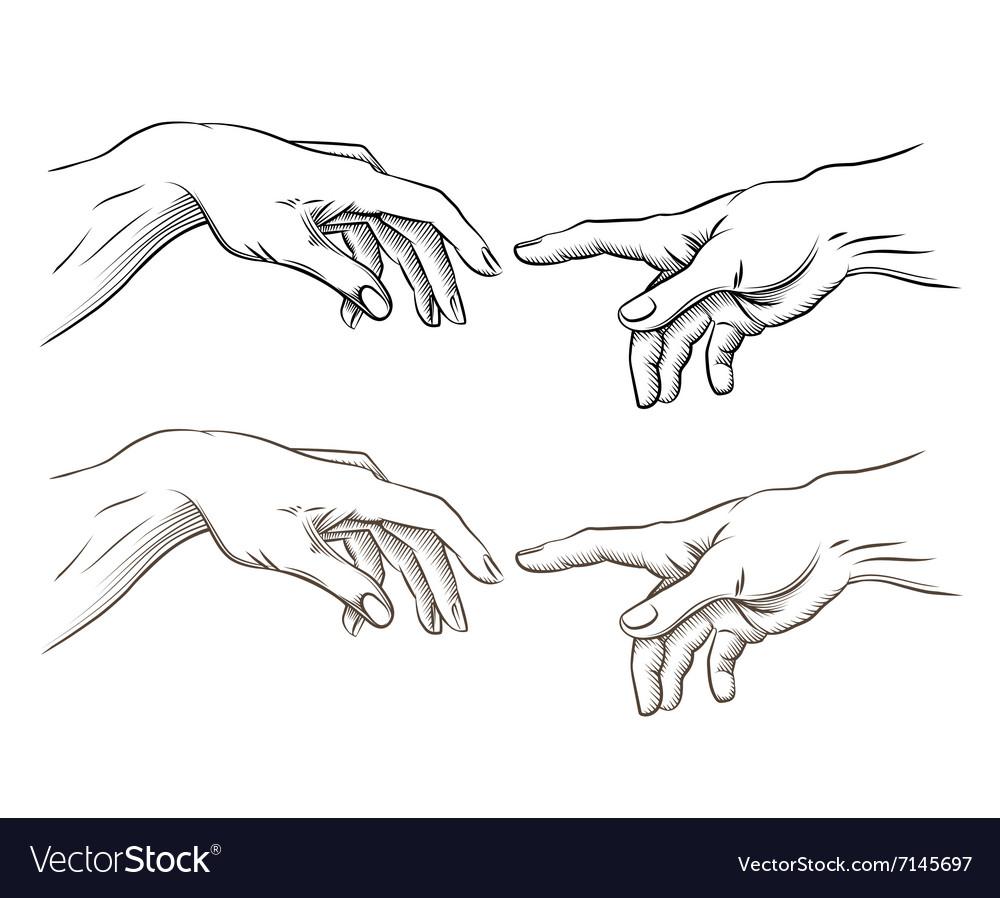 Adam hand of God like creation vector image