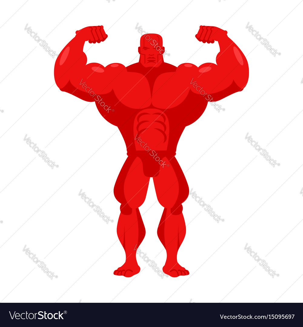 Bodybuilder red cartoon athlete with big muscles
