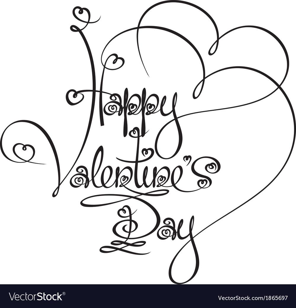 Caligraphic Text Happy Valentines Day vector image