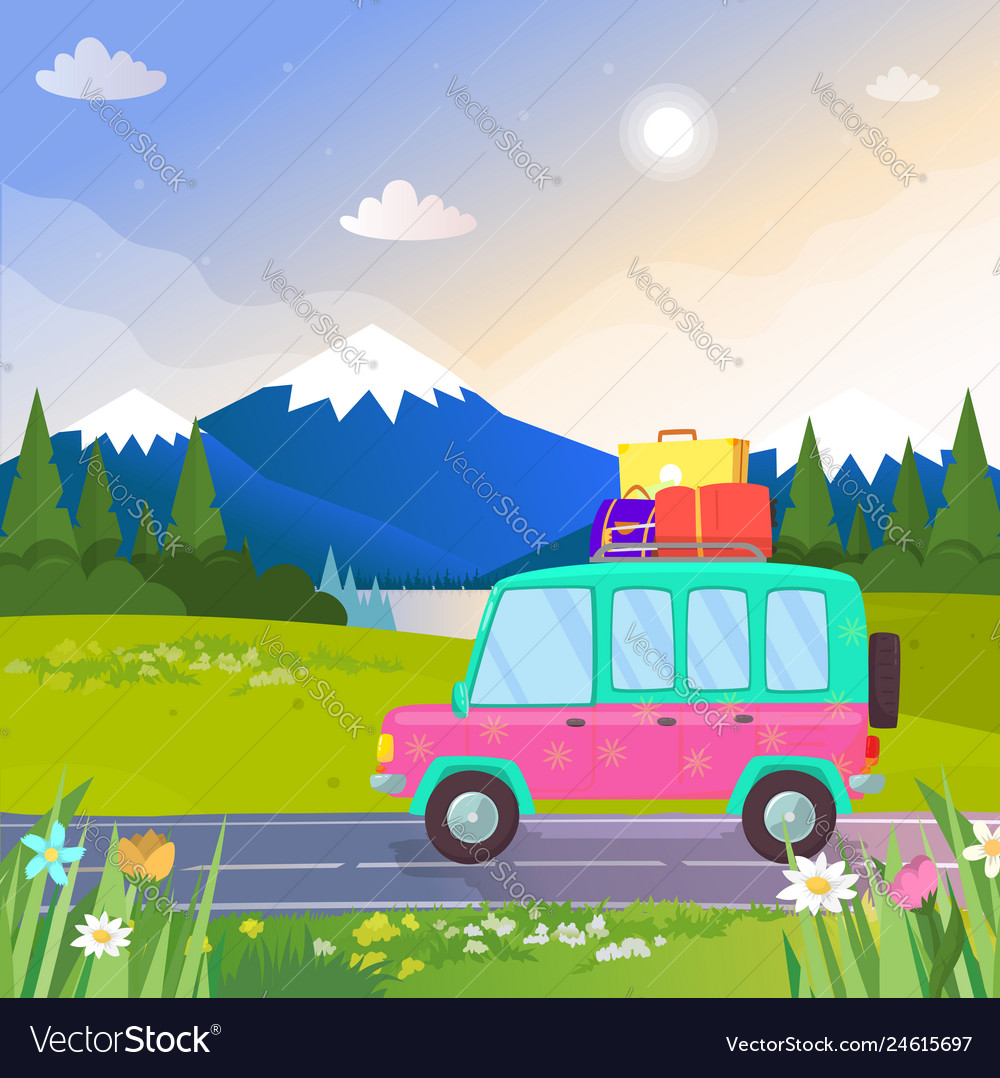 Car with luggage at beautiful nature background
