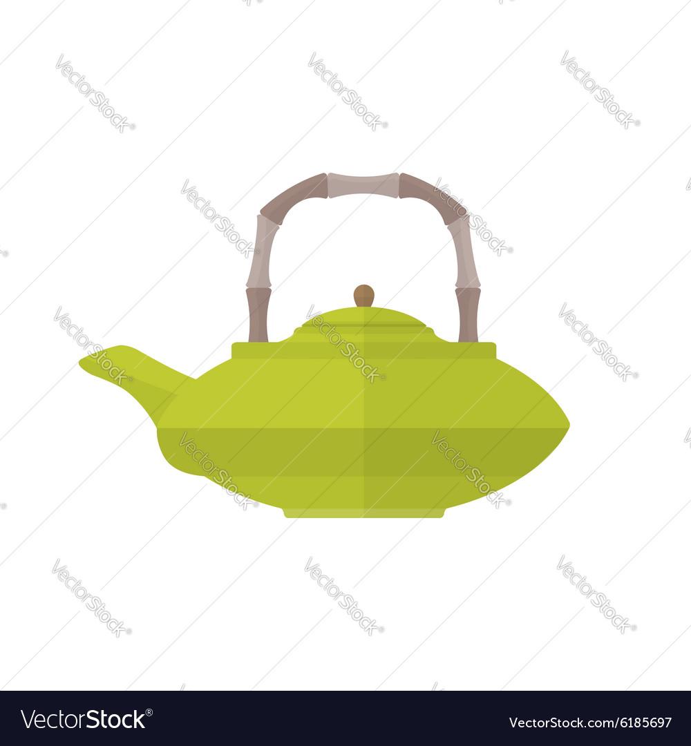 Colored flat asian teapot