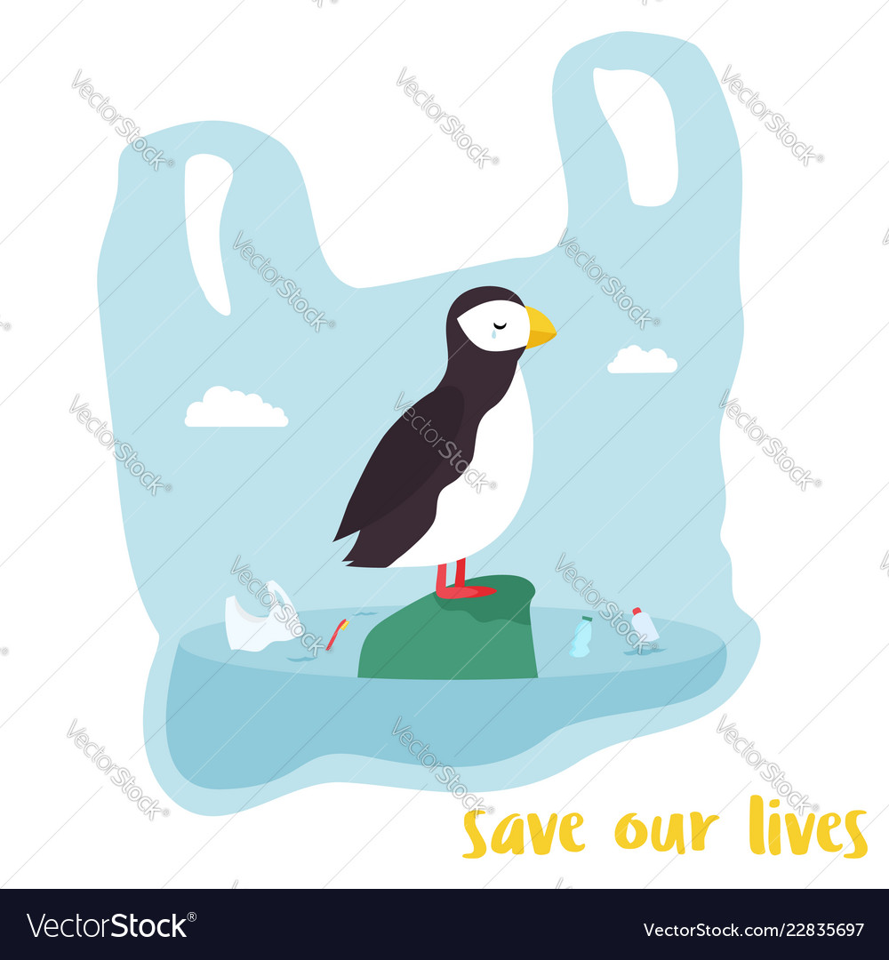 Eco poster cute puffin inside the plastic bag