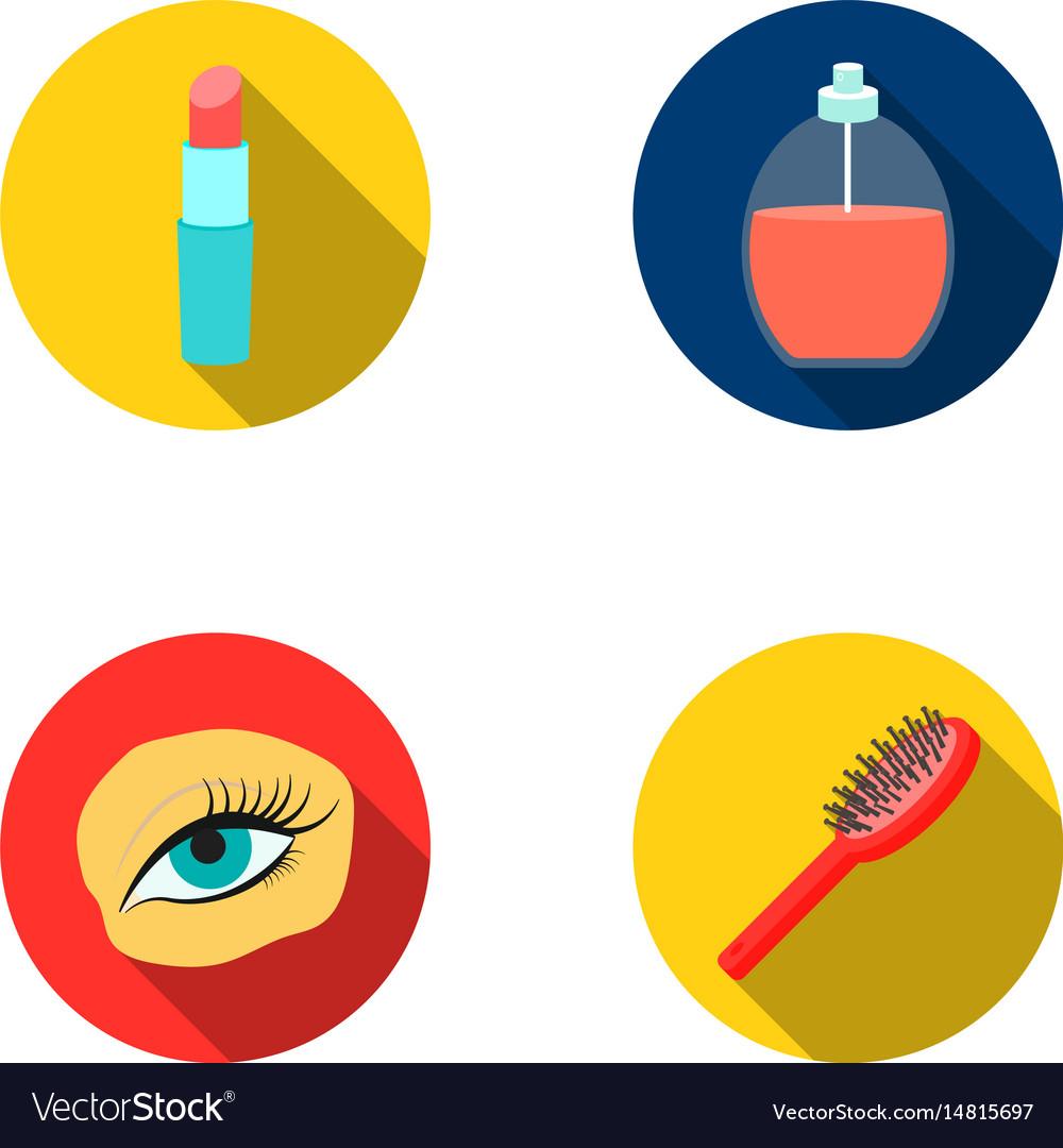 Mascara on eyelashes lipstick perfume hairbrush