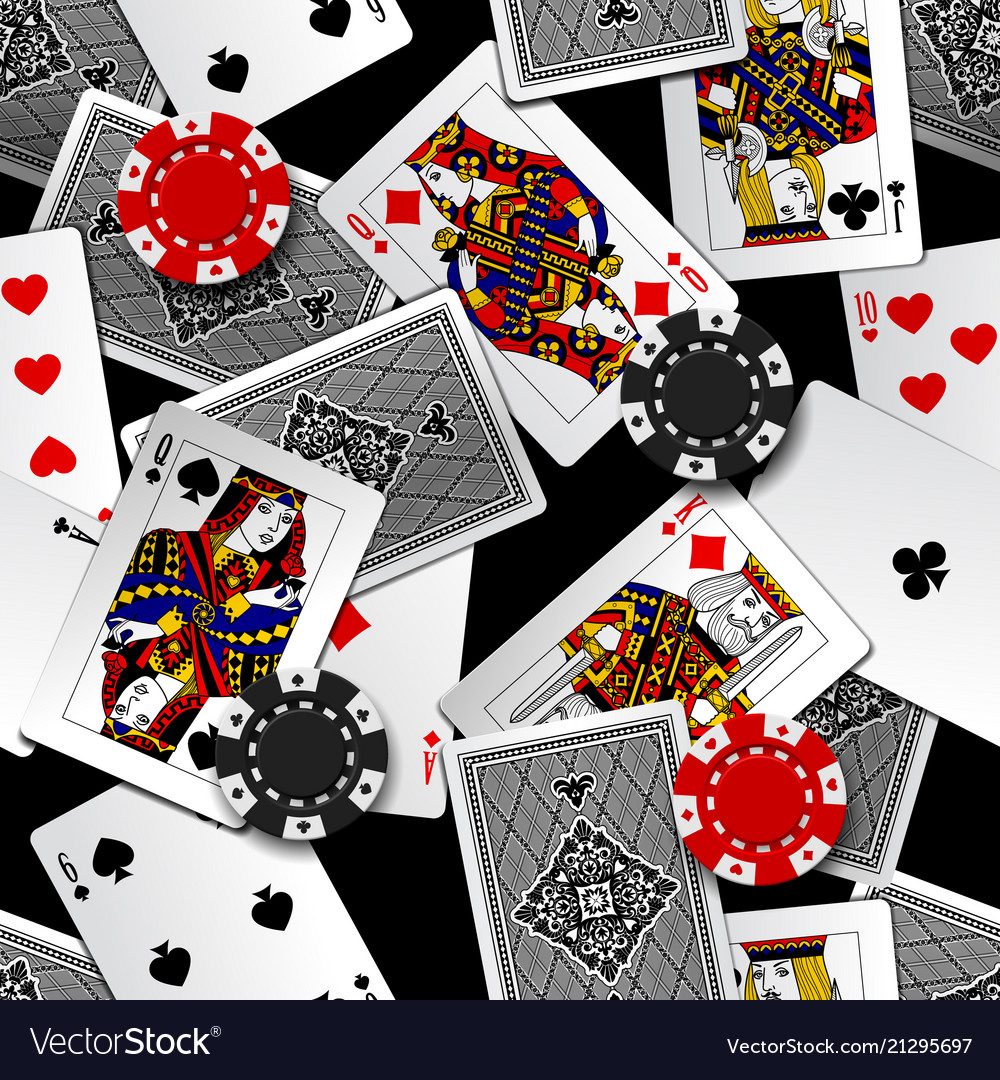 Playing cards and casino chips seamless pattern