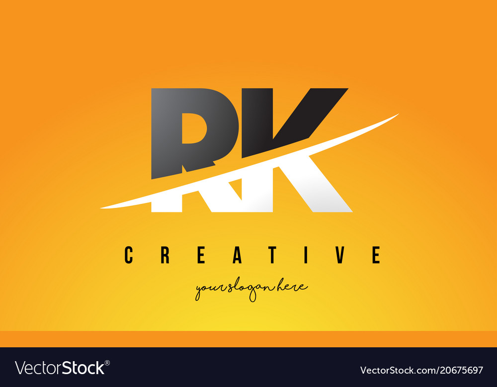 Rk R K Letter Modern Logo Design With Yellow