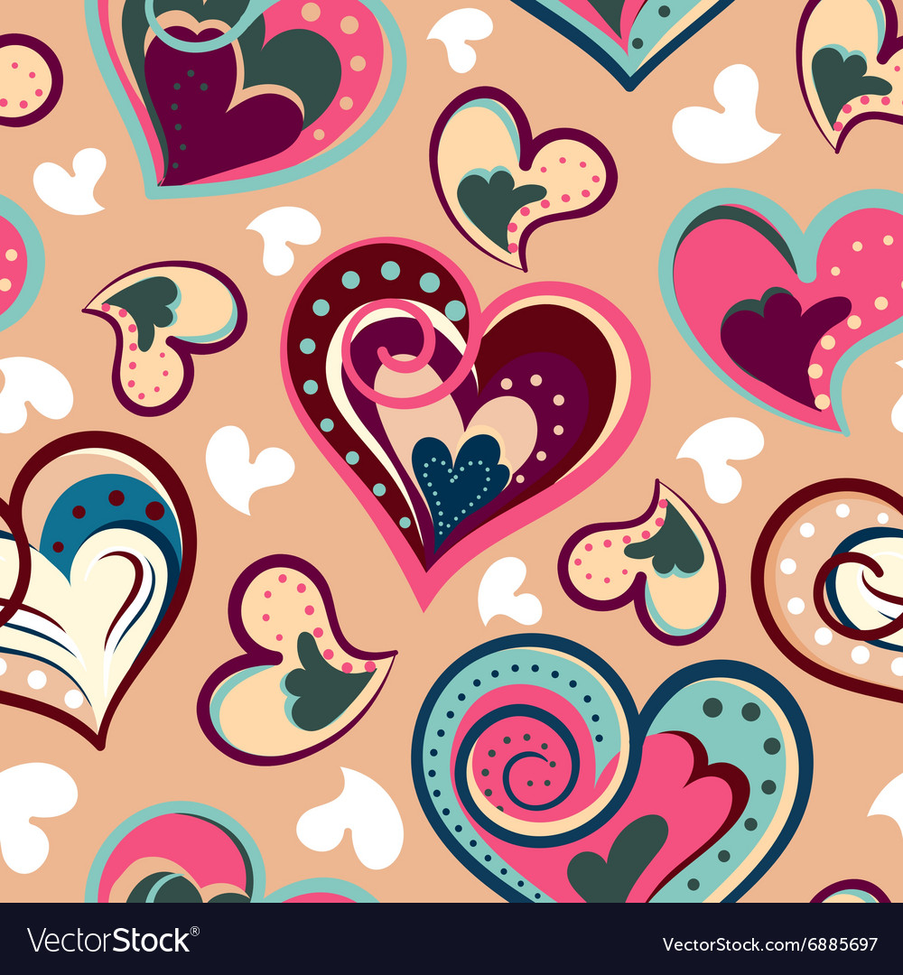 Romantic seamless pattern with colorful hand draw