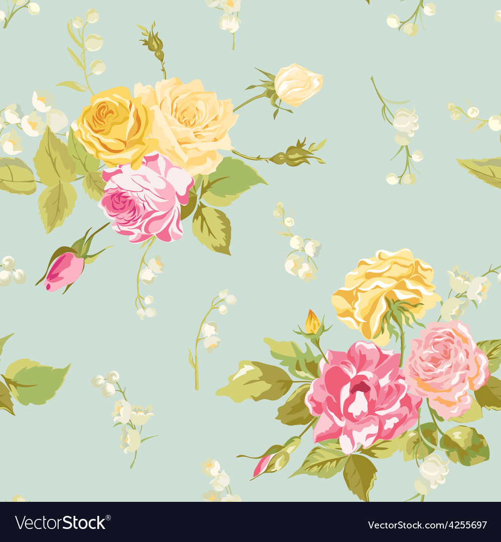 Seamless Fl Shabby Chic Background Vector Image