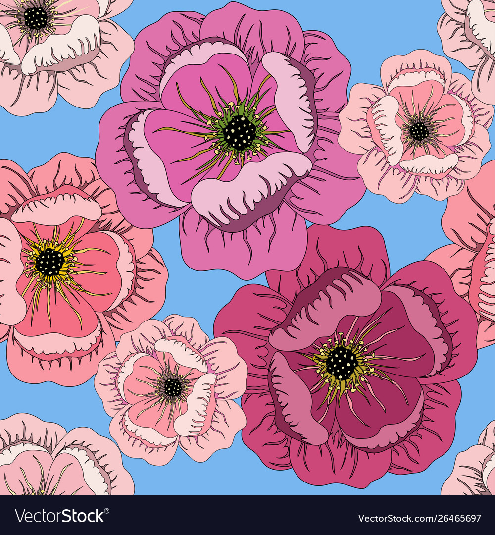 Seamless Summer Pattern With Roses On Blue Vector Image