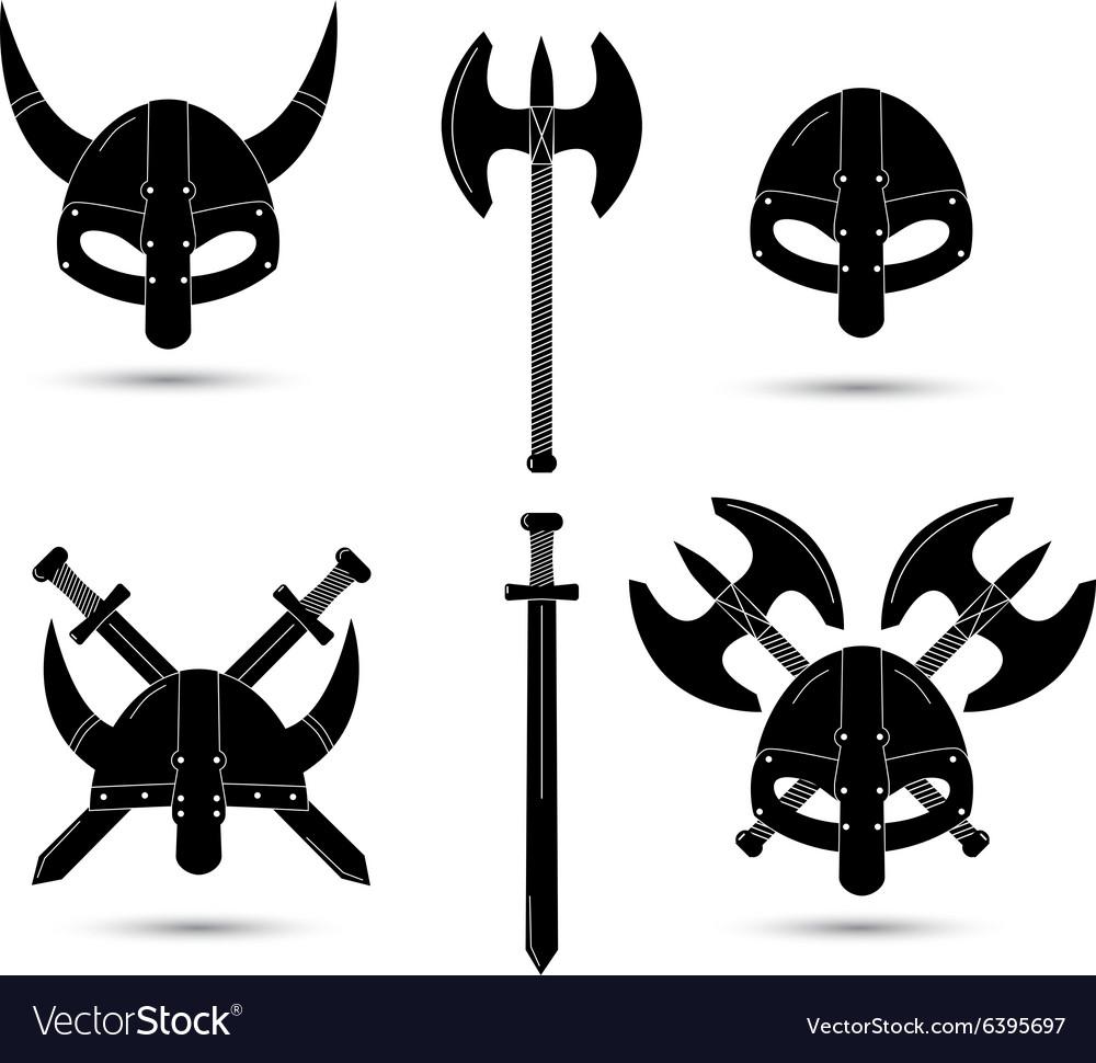 Set of monochrome viking elements isolated
