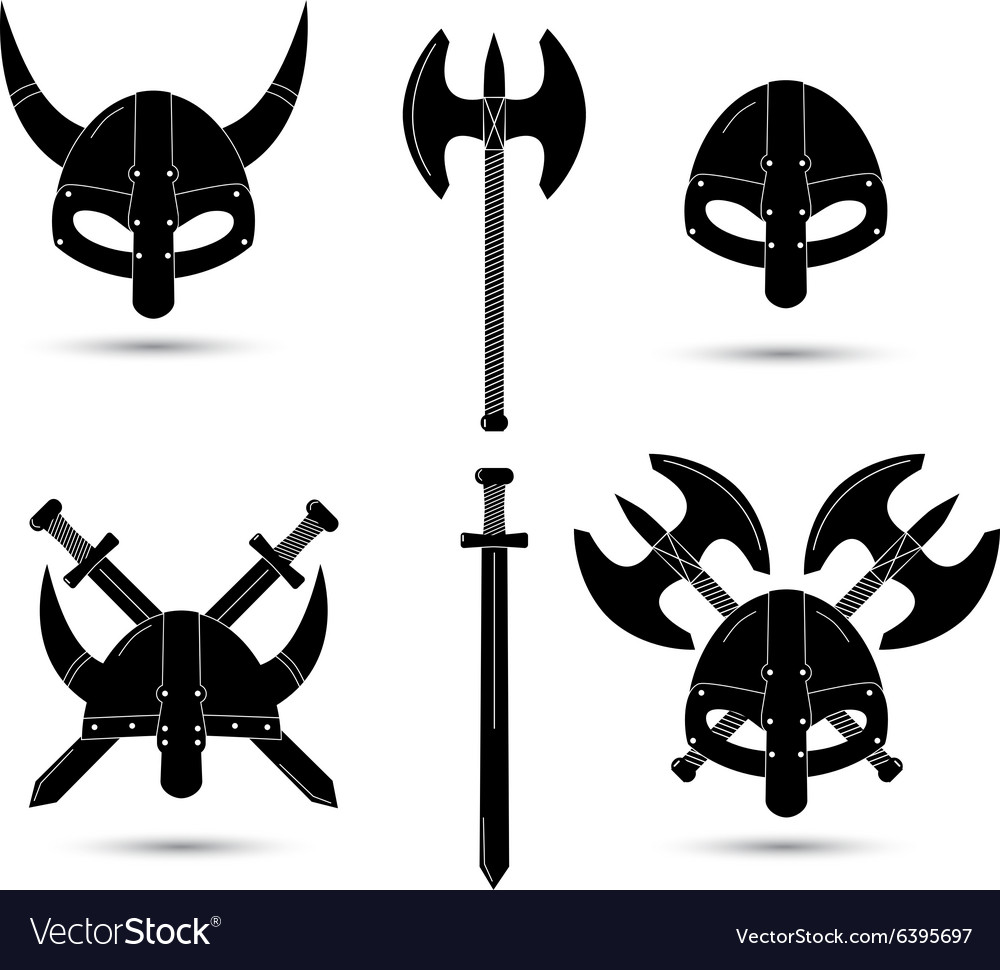 Set of monochrome viking elements isolated vector image