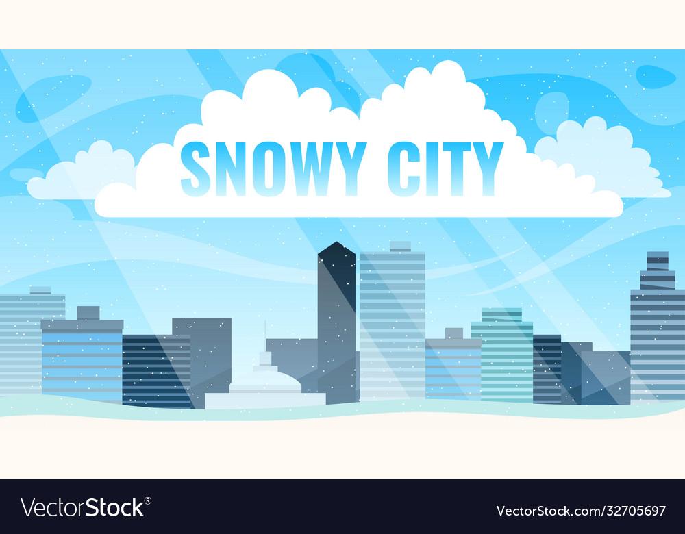 Snowy street urban winter landscape