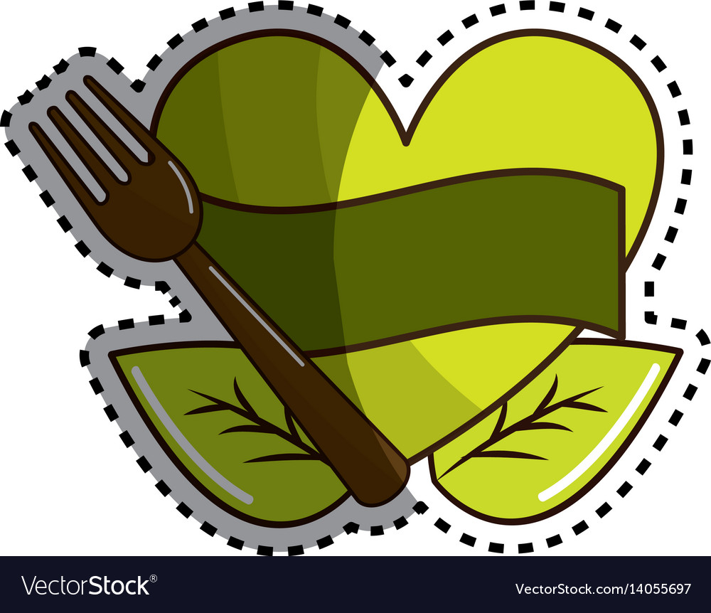 Sticker green heart with ribbon fork and leaves