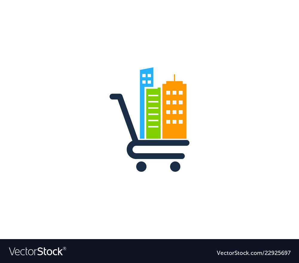 Town shopping logo icon design
