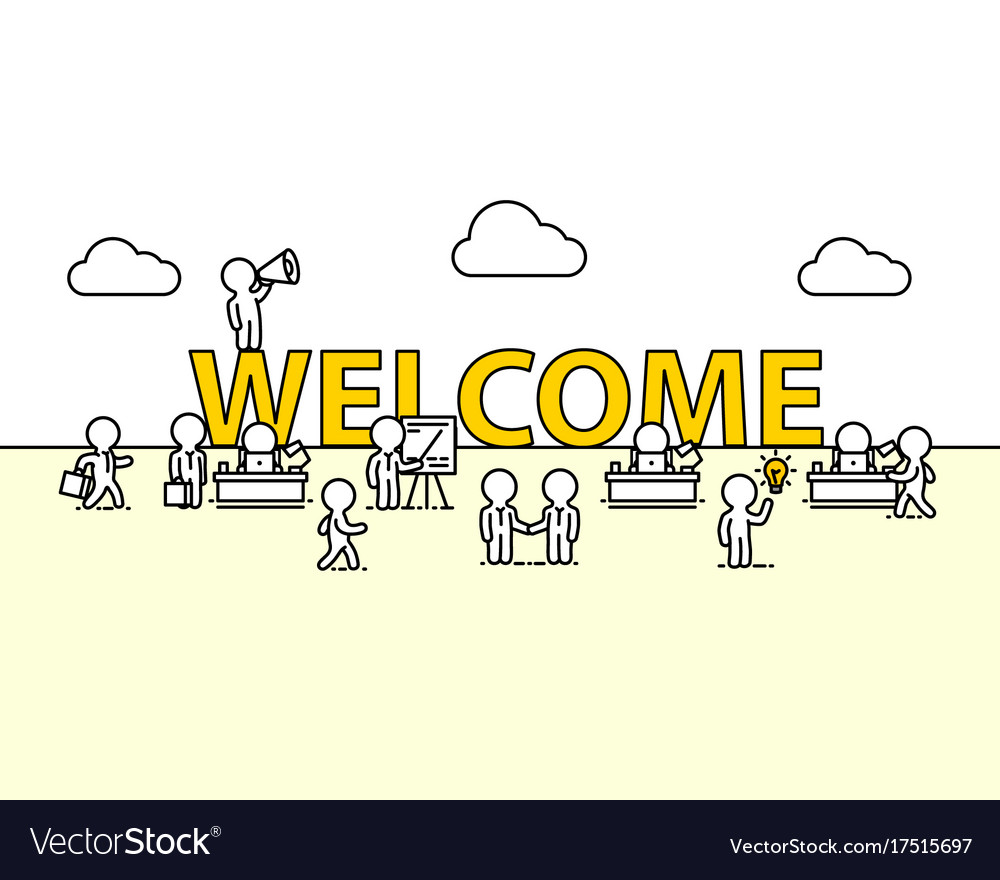Welcome text work office with people