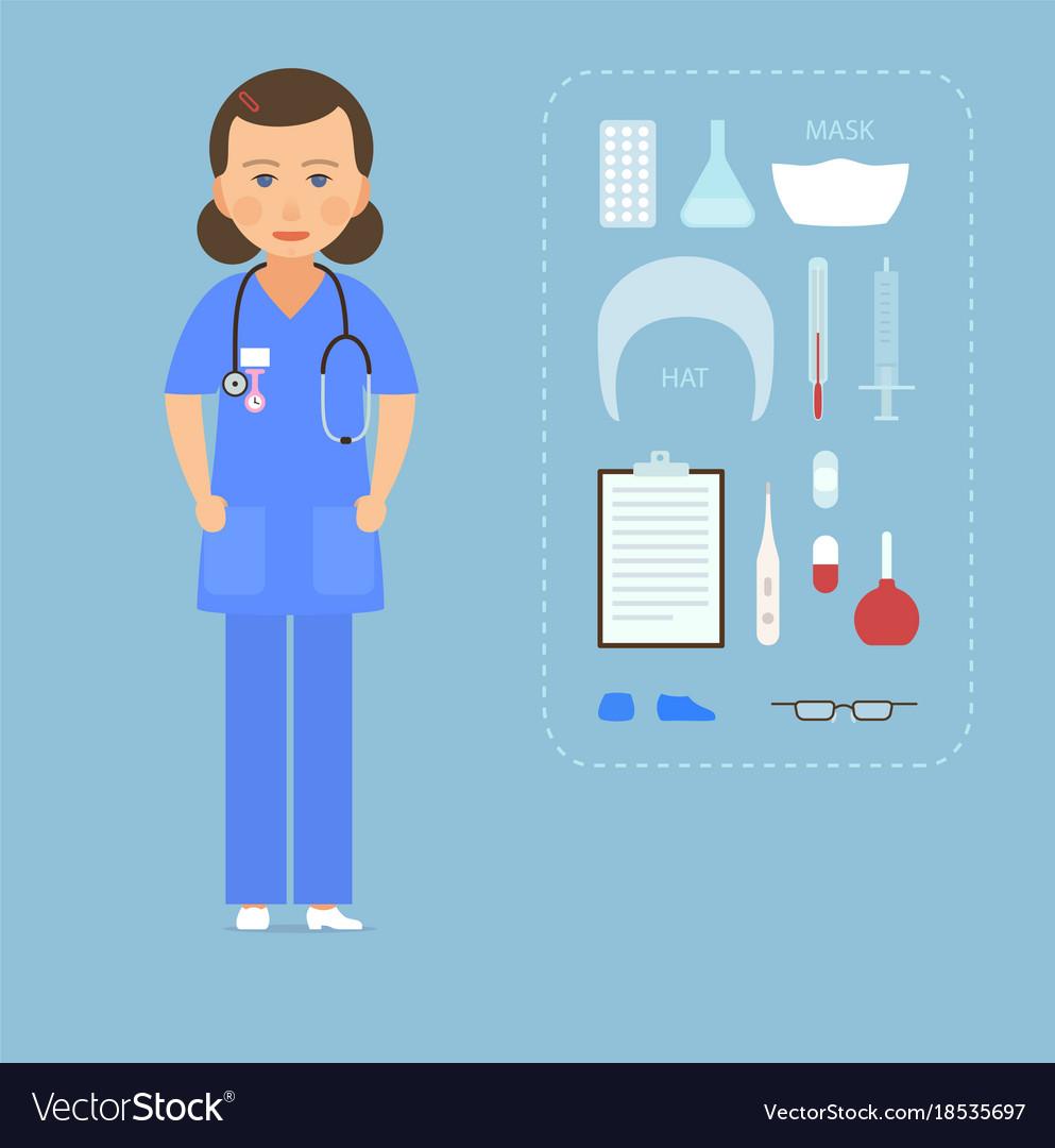 Women nurse in a blue uniform and medical vector image