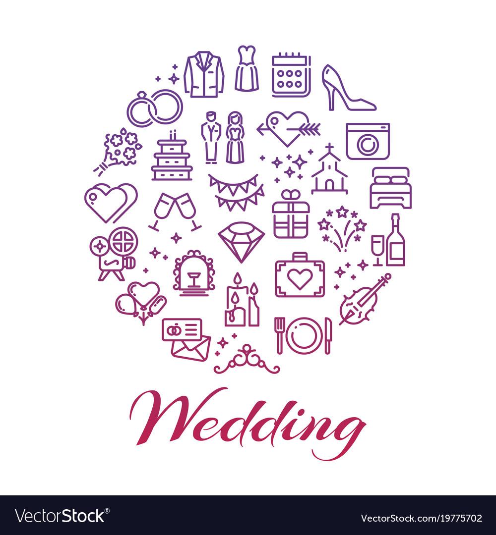 Bright wedding line icons round concept