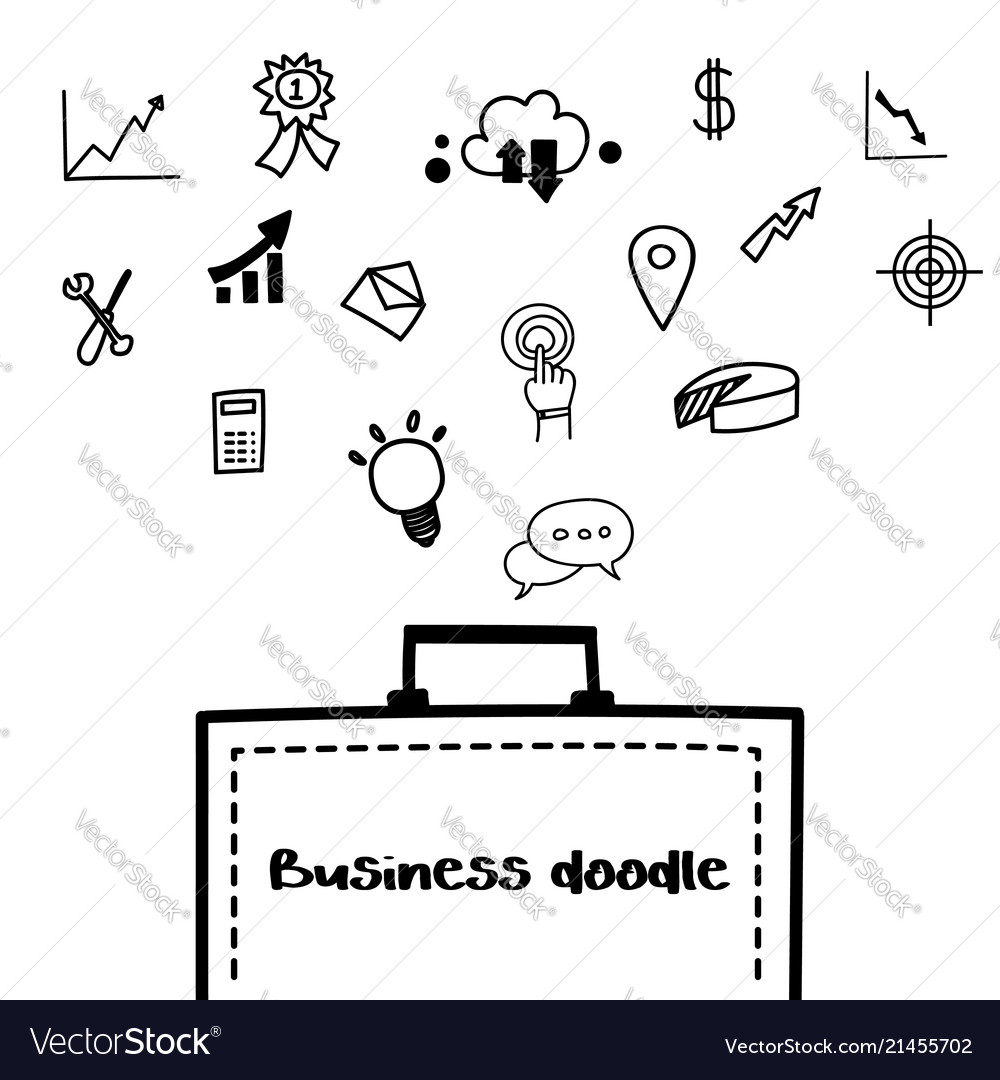 Business doodle icon design element template on