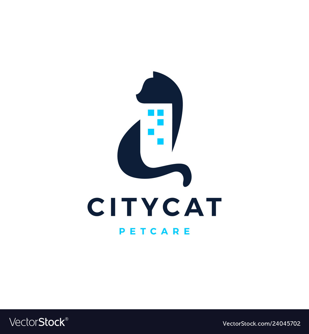 Cat city building home house logo icon