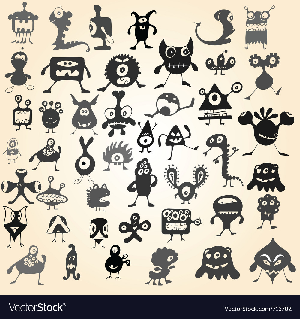 Doodle monsters vector image