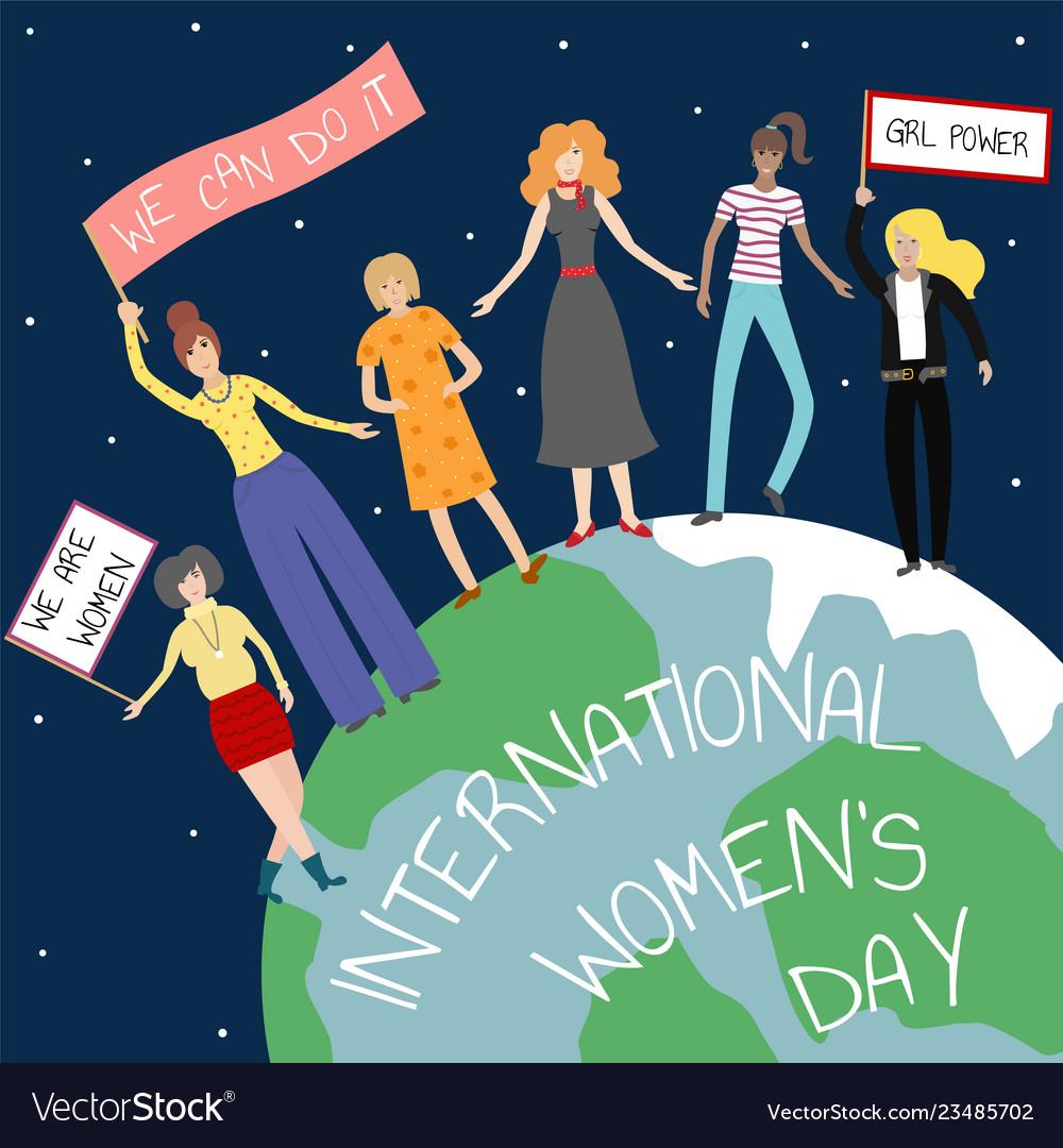 Feminist girl power poster international womens