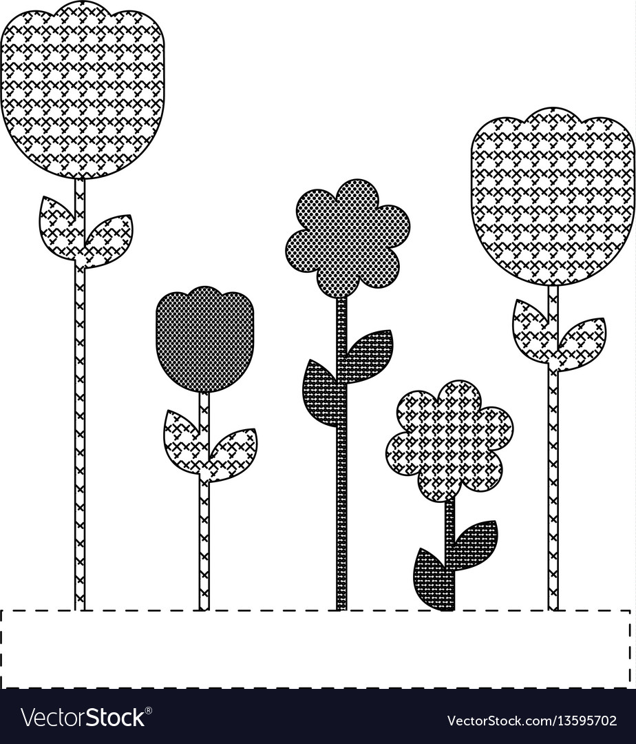 Grayscale figures flowers plants icon