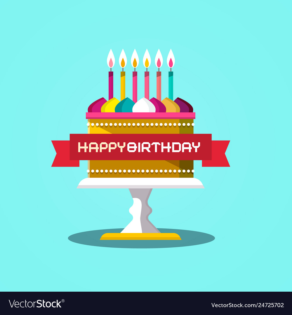 Tremendous Happy Birthday Banner With Cake Design On Blue Vector Image Birthday Cards Printable Opercafe Filternl