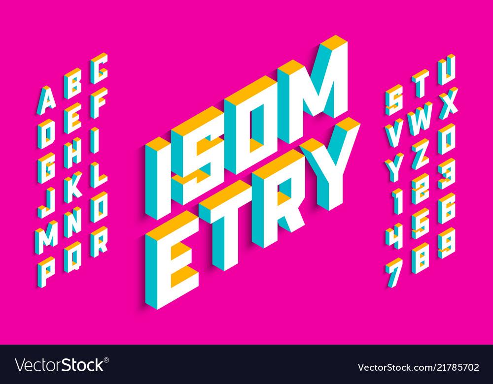 Isometric 3d font design three-dimensional