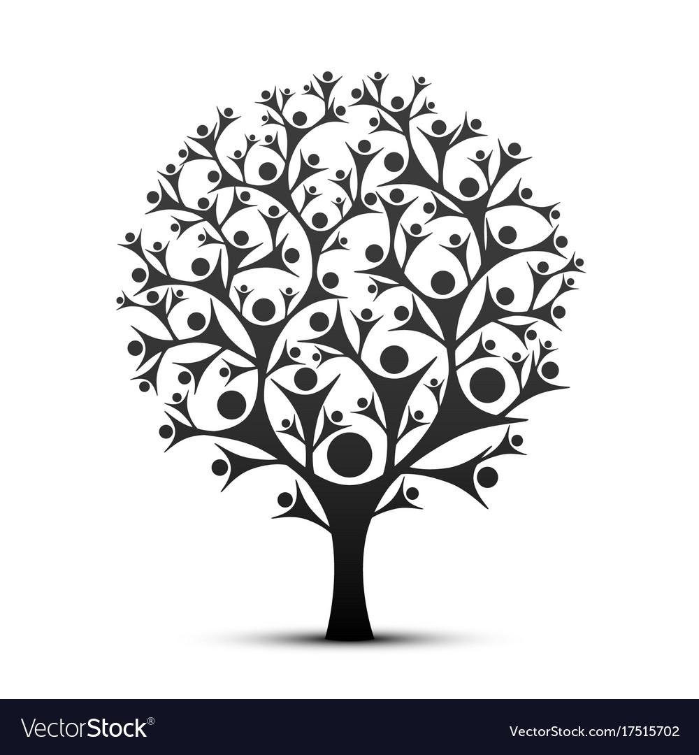 People tree sign color black