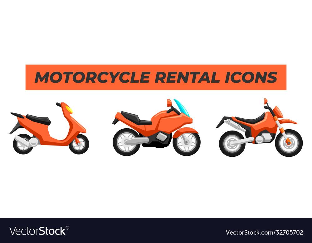 Set motorcycle bike design flat style