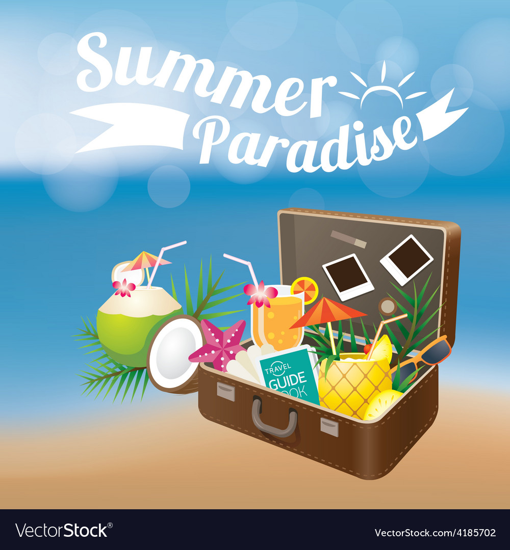 Summer Suitcase with Objects on Blur Background