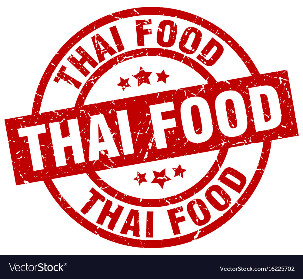 Thai food round red grunge stamp vector image on VectorStock