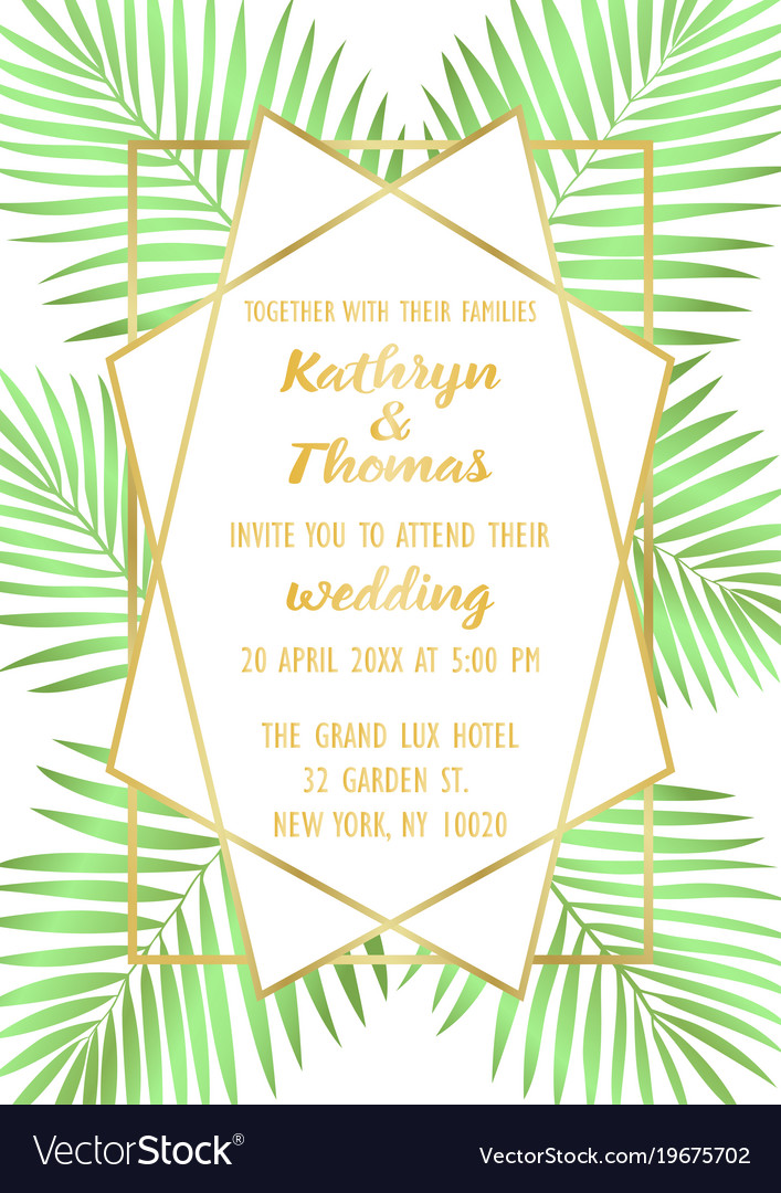 wedding tropical invitation card royalty free vector image