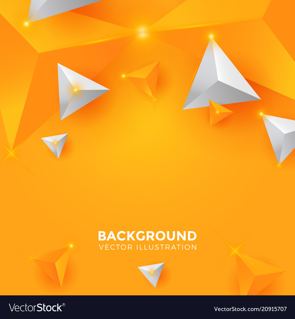 Abstract shiny yellow and white triangle