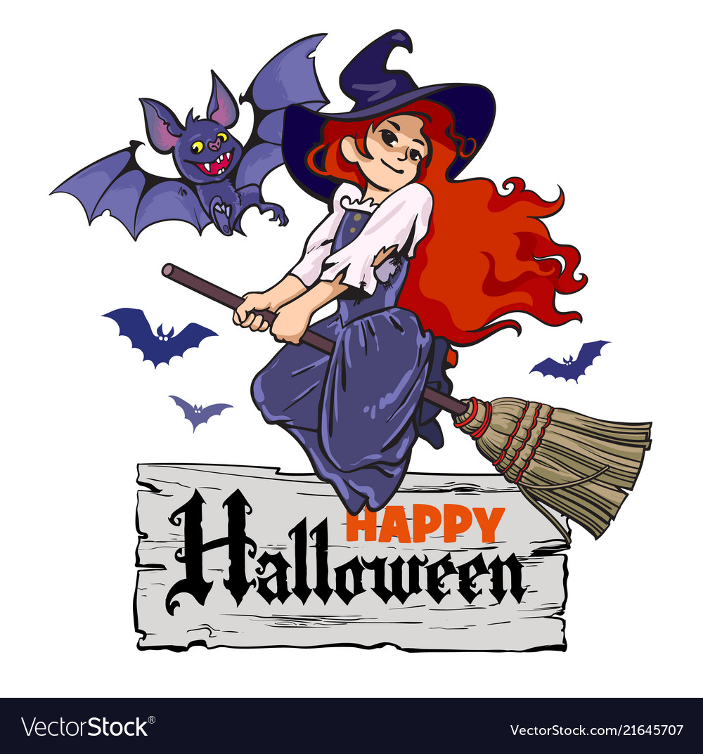 Cartoon vampire bat and cute young witch flying on