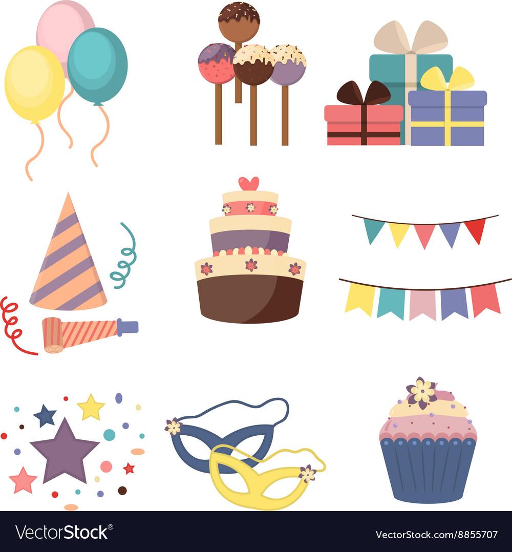 Celebration party carnival festive icons set