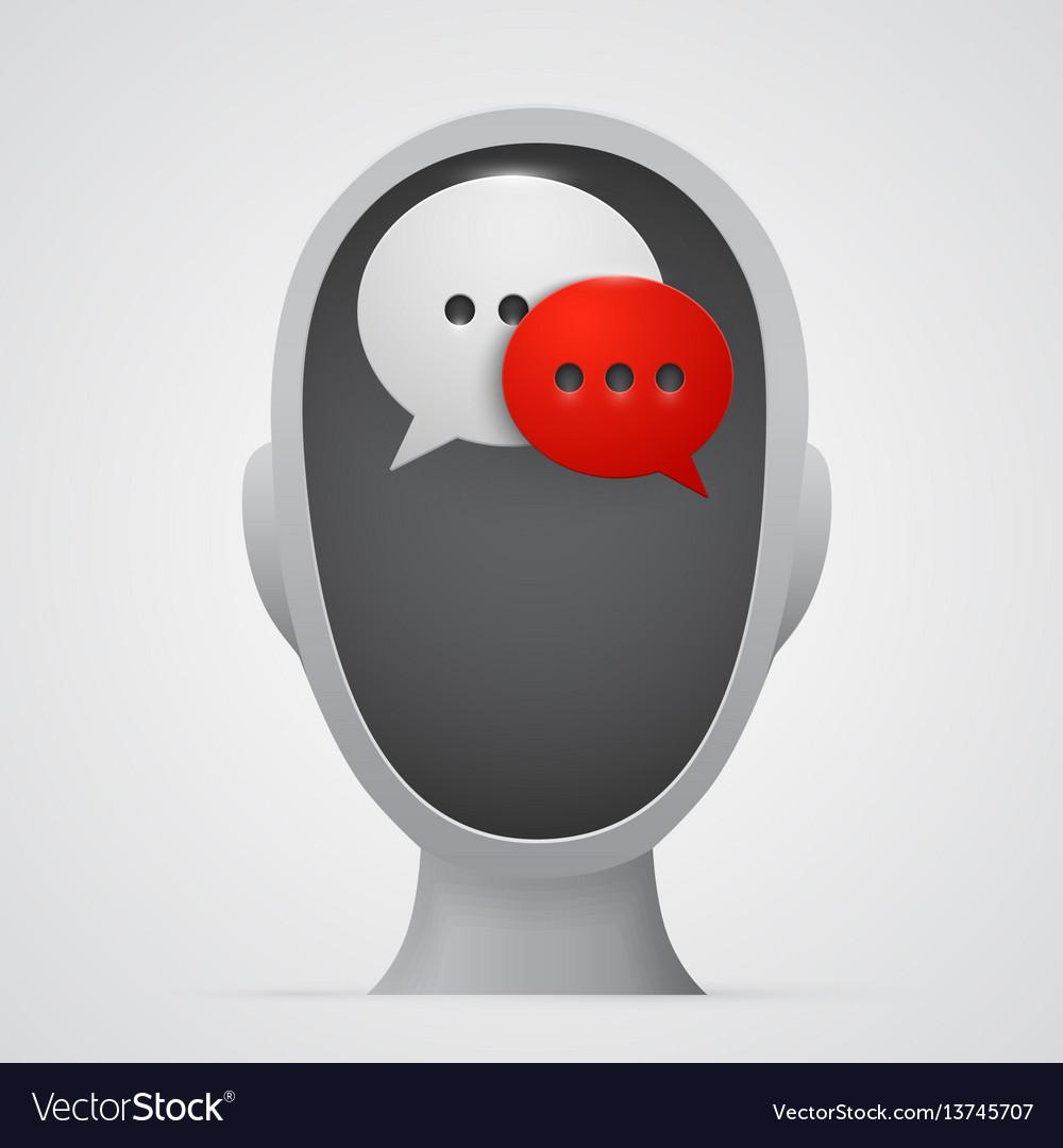 Chat bubbles inside head silhouette
