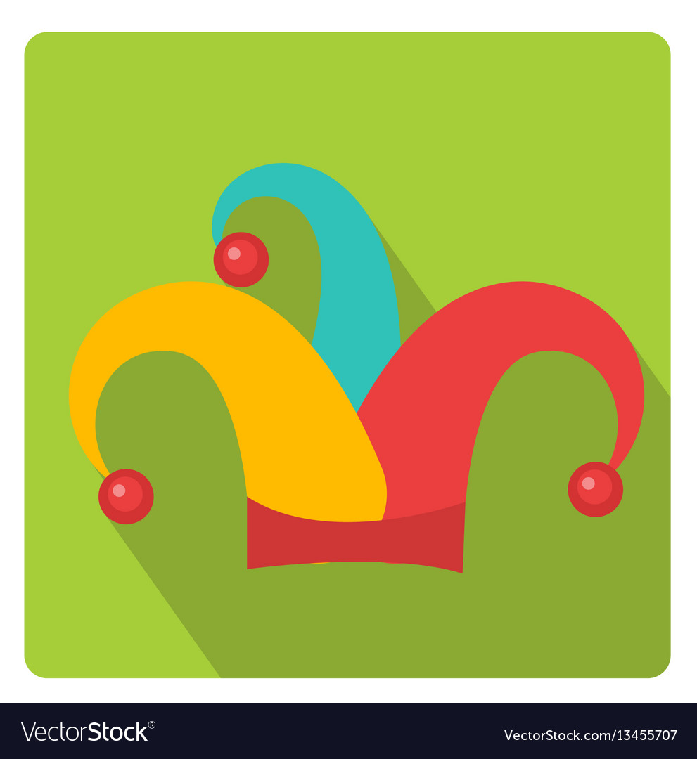 Colored jester hat icon flat style with long