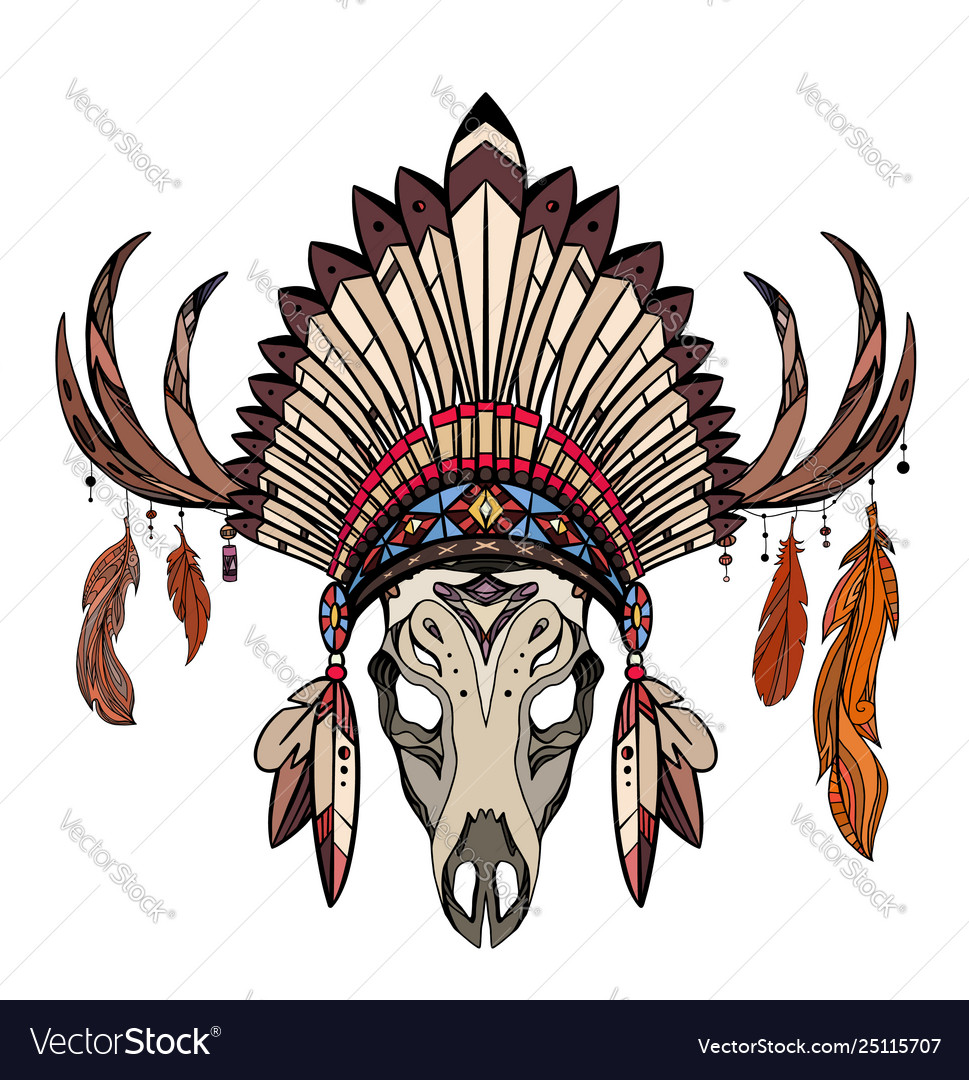 Coloring Drawing Deer Skull With Horns Native