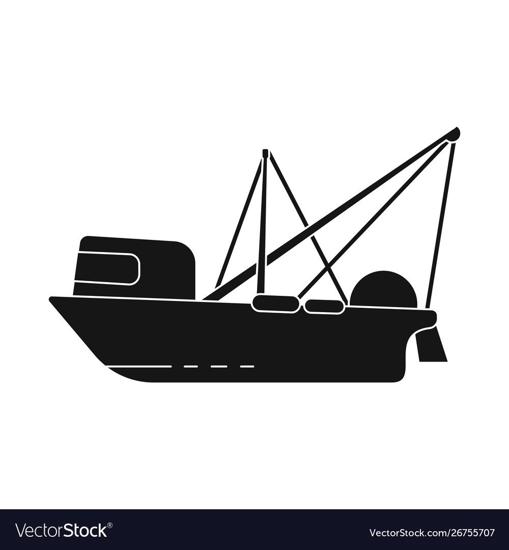 Design trawler and ocean logo set of