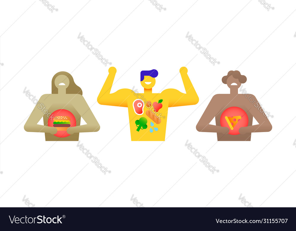 Eating habits concept healthy diet and fast food