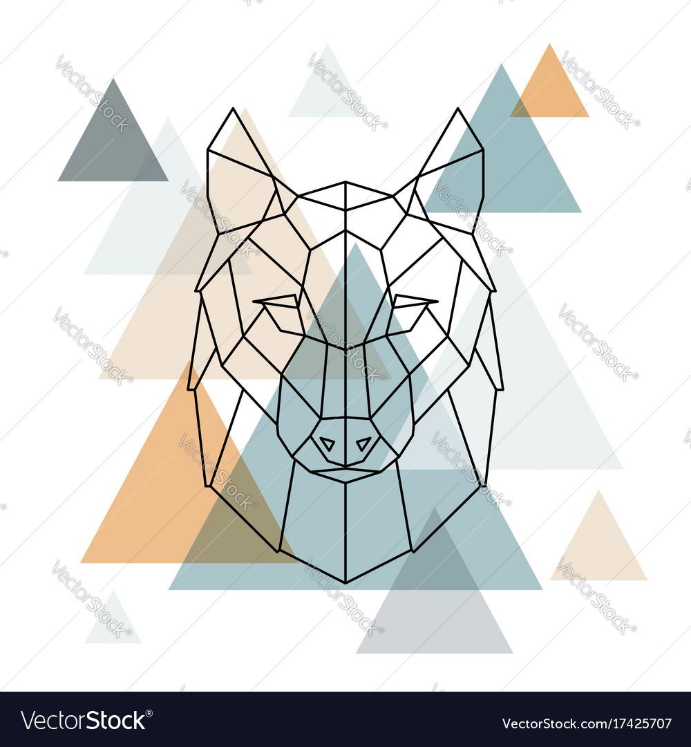 Geometric wolf low poly line art
