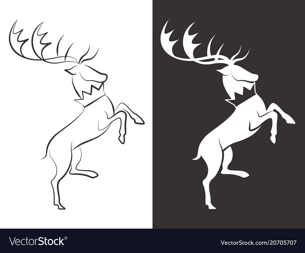 Line and silhouette deers design vector image