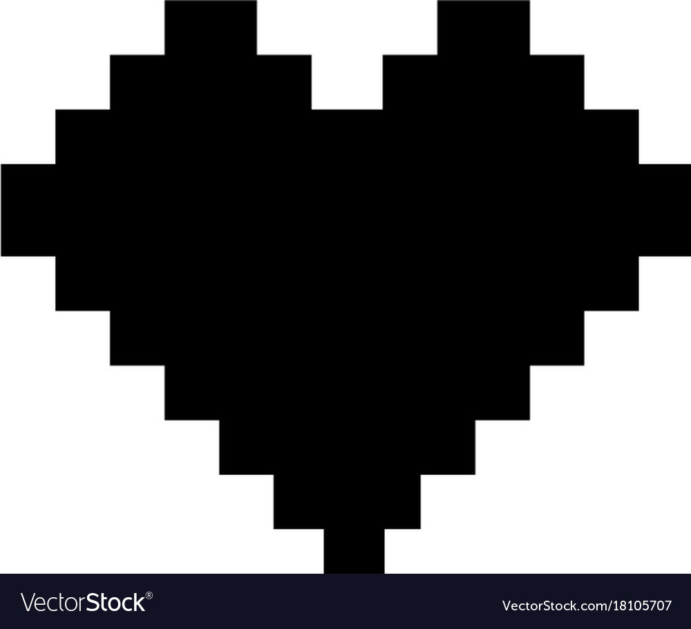 Pixel heart icon black sign