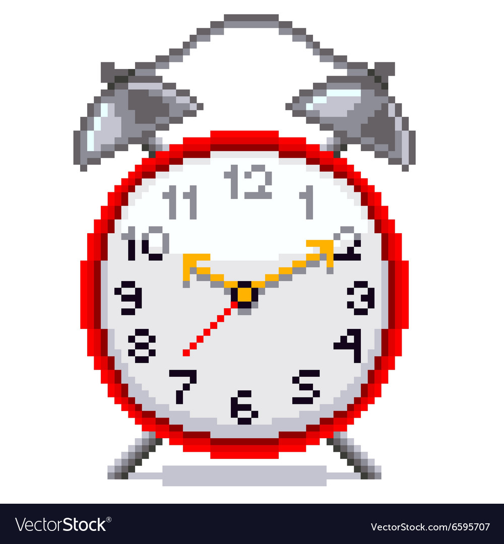 Pixel retro alarm clock isolated vector image