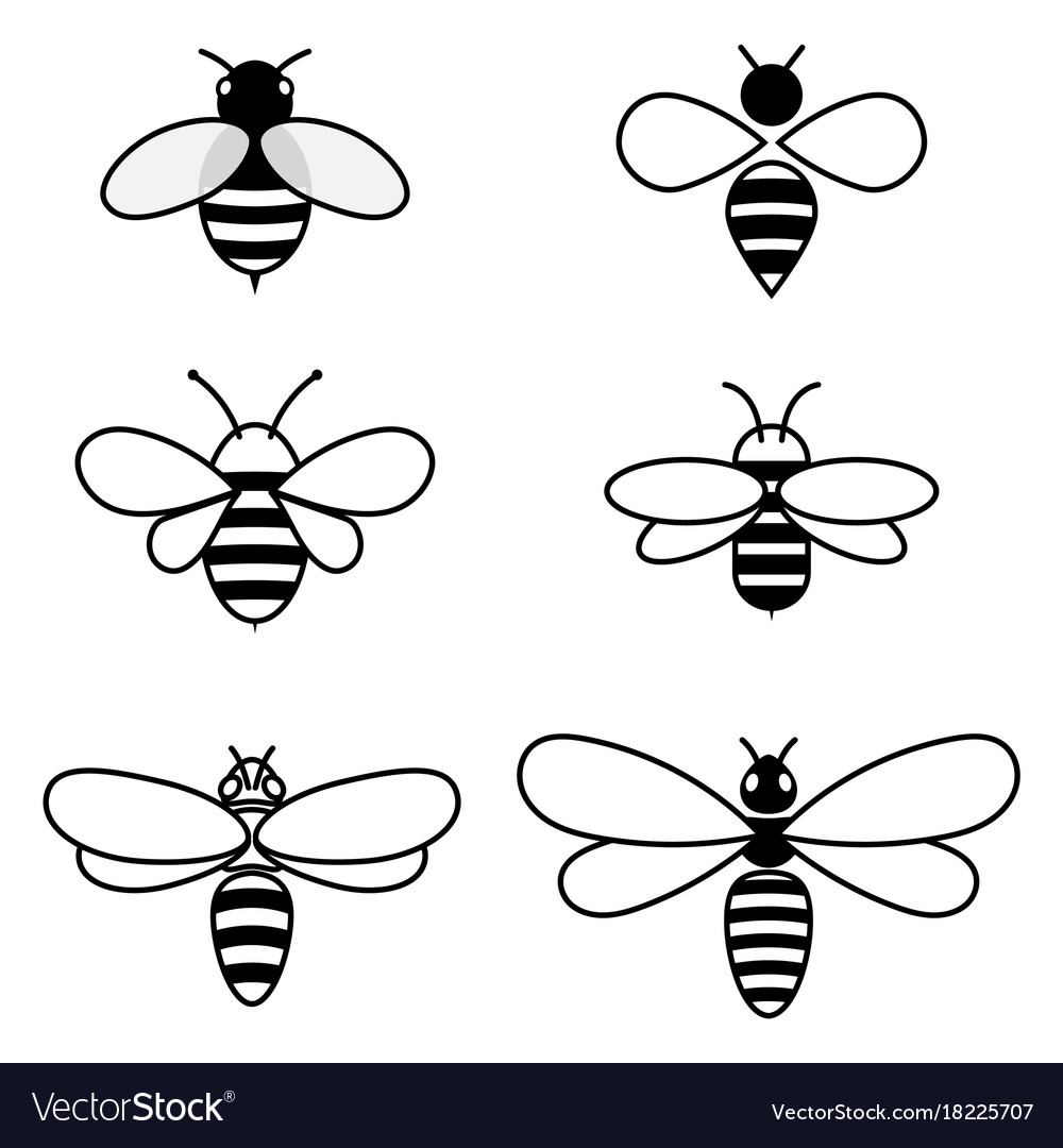 Set of stylized bees collection of logos vector image