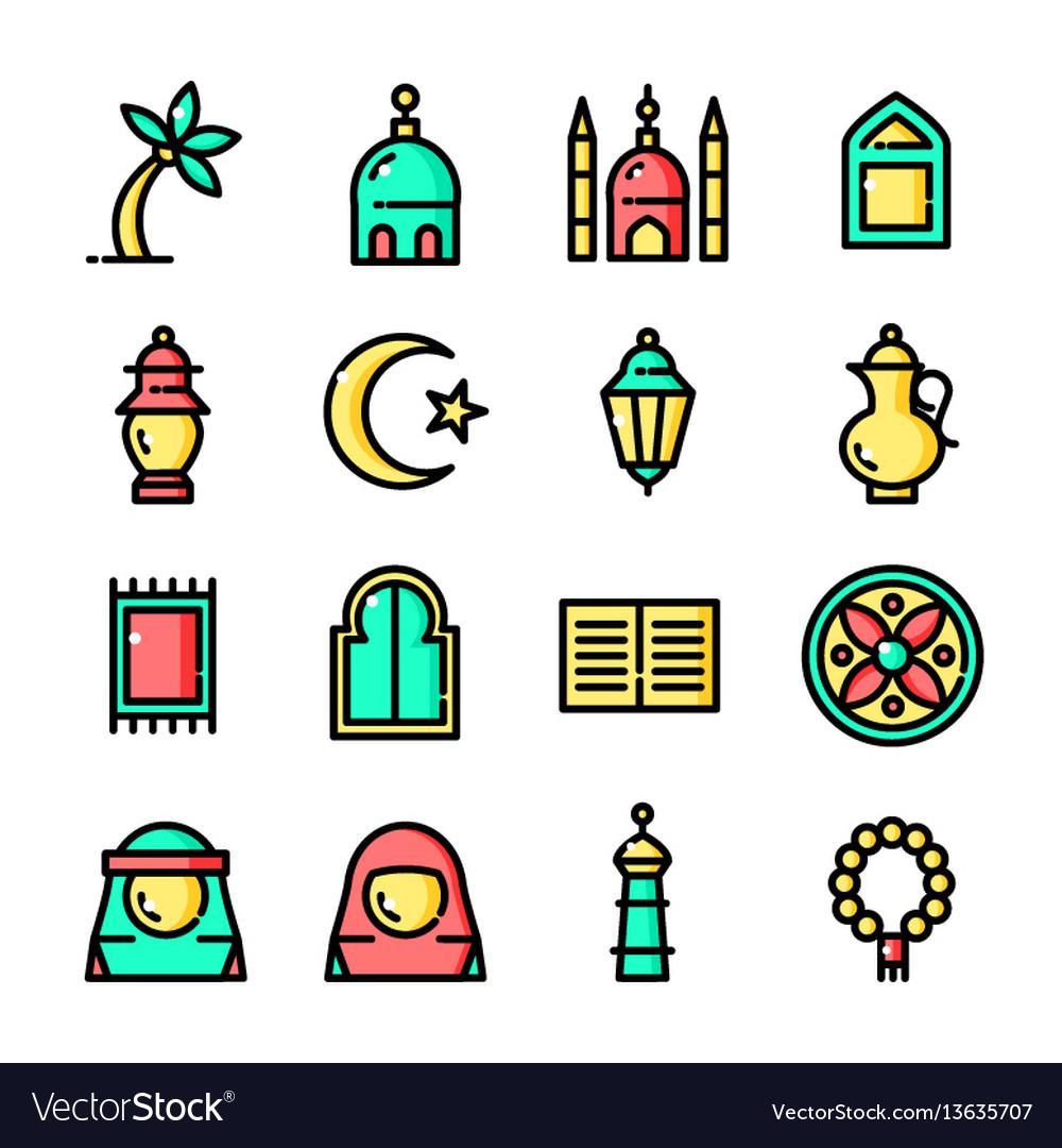 Thin line islam icons set vector image