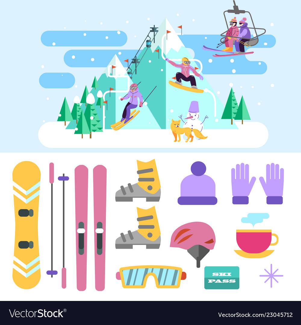 Beautiful ski club skiing